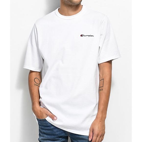 be794cea Champion Shirts | Heritage Script White Crew Tee | Poshmark